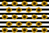 Fox Sunflowers Black white stripes Vinyl Backdrop Cloth