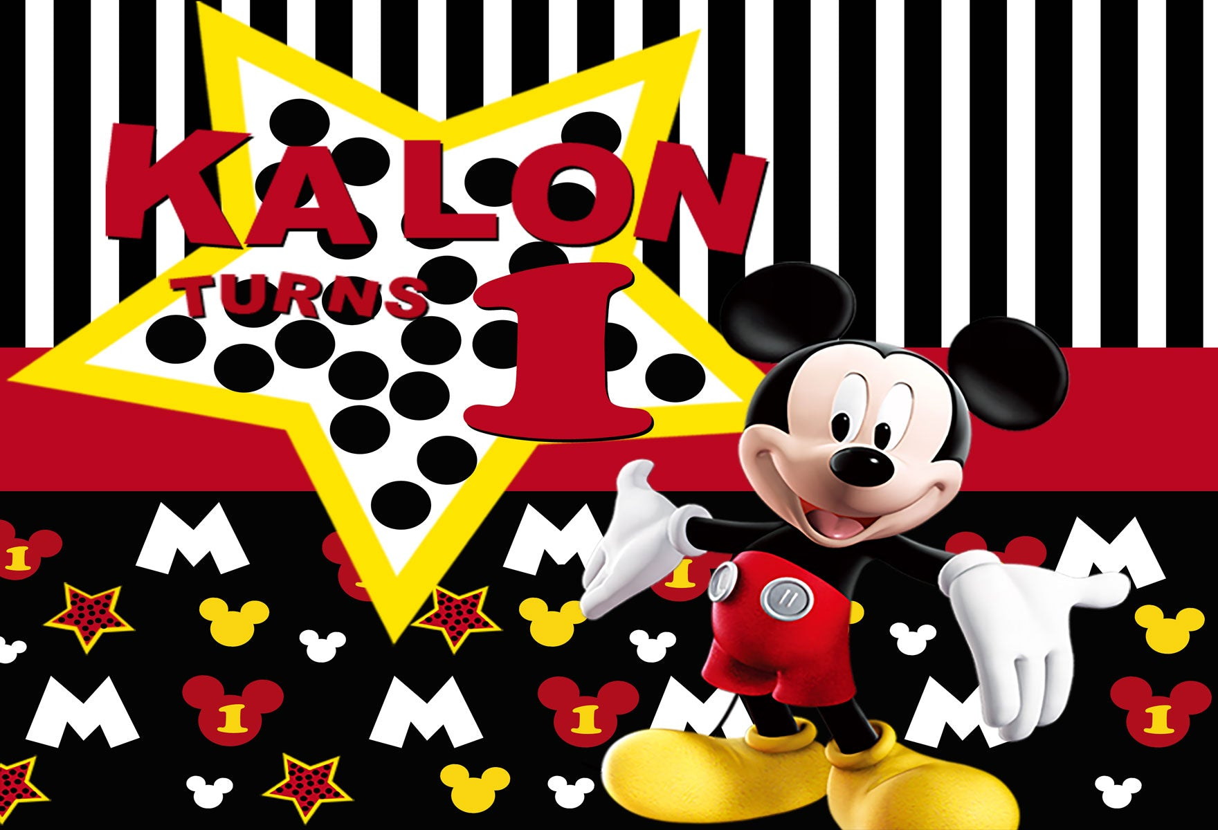 Fox Mickey Mouse Vinyl Children Backdrop-Foxbackdrop