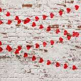 Fox Retro Wall with Red Hearts Valentine's Day Vinyl Backdrop-Foxbackdrop