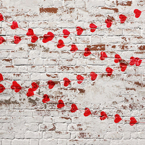 Fox Retro Wall with Red Hearts Valentine's Day Vinyl Backdrop