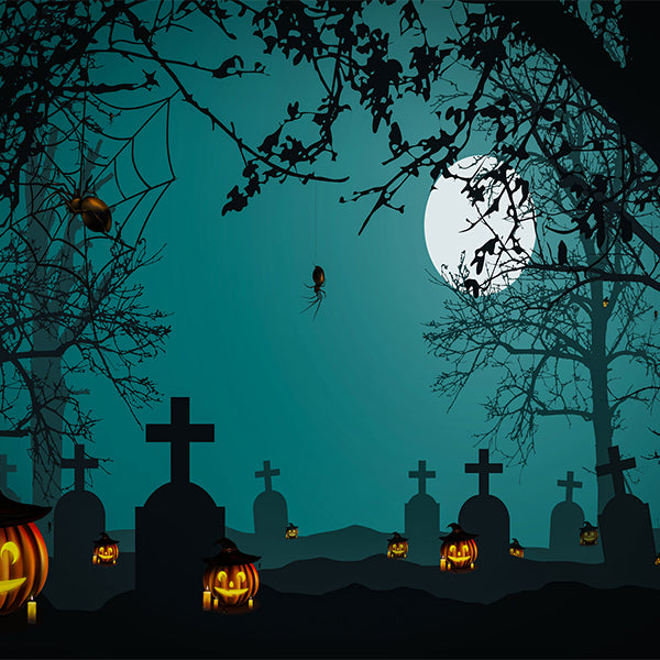 Fox Roll Halloween Night Grave Vinyl Backdrop