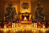 Fox Rolled Lights Candles Christmas Vinyl Backdrops-Foxbackdrop