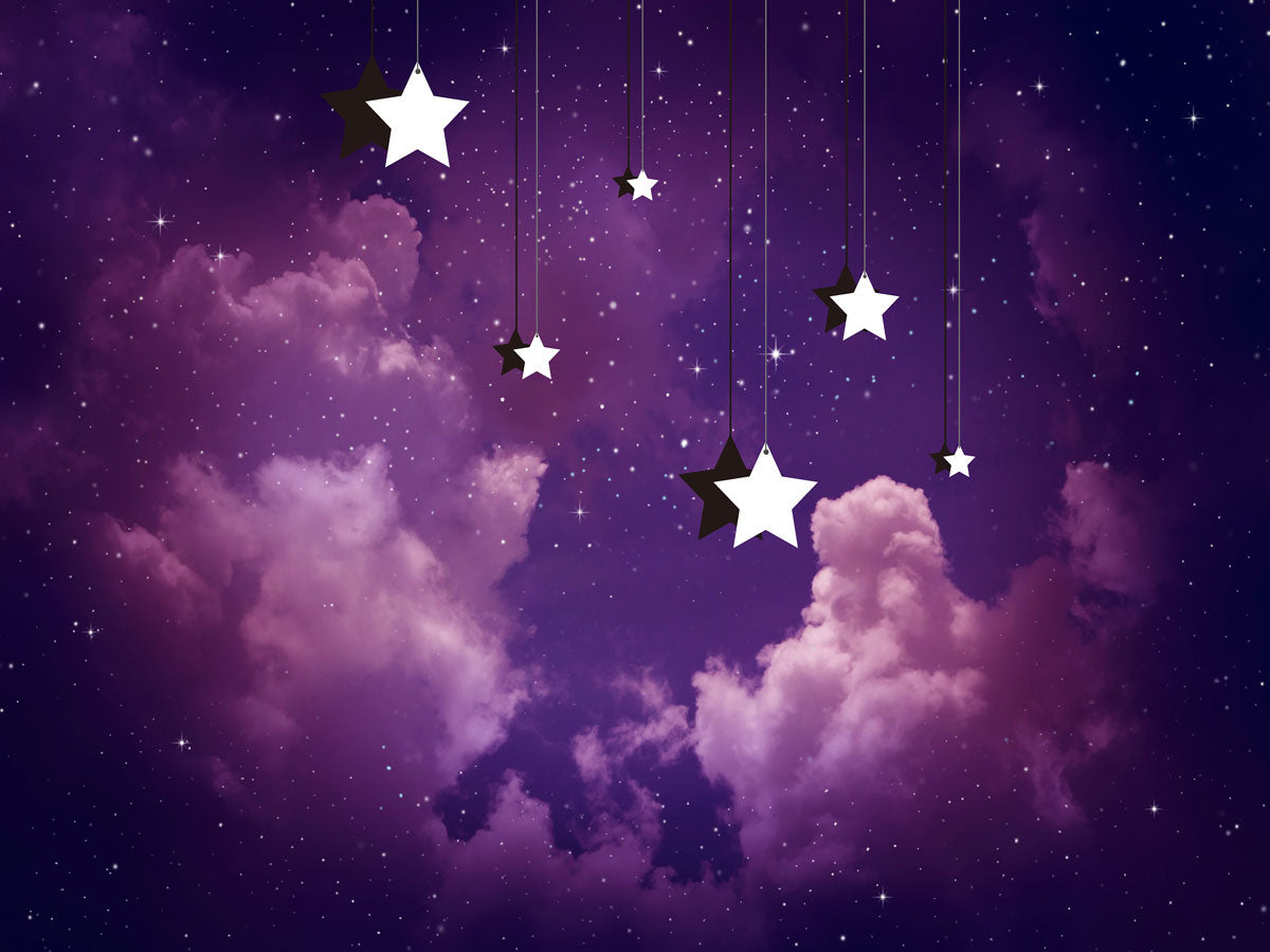 Fox Purple Cloud Star Newborn Photos Vinyl Backdrop-Foxbackdrop