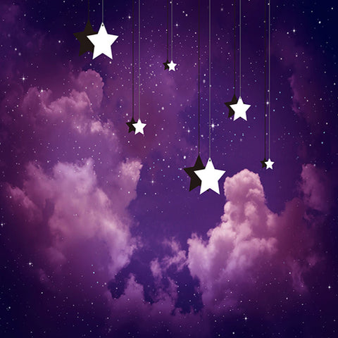 Fox Purple Cloud Star Children Birthday Photos Vinyl Backdrop