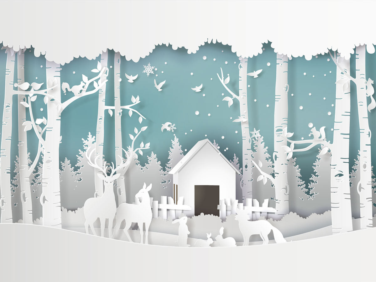 Fox Christmas White Paper Snow Vinyl Backdrop