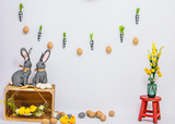 Load image into Gallery viewer, Fox Rolled Vinyl Easter Backdrop with Rabbit Eggs Designed by Nosheen Iqbal-Foxbackdrop