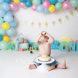 Fox Children Balloons Cake Smash Backdrop Design by Kali