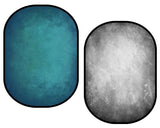 Fox Gray Abstract Texture/ Blue Green Abstract Texture Collapsible Backdrop Photography 5X6.5ft(1.5x2m)-Foxbackdrop