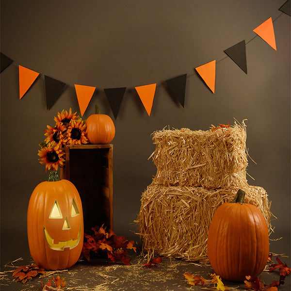Fox Rolled Thanksgiving Straw Pumkin Vinyl Photos Backdrop-Foxbackdrop