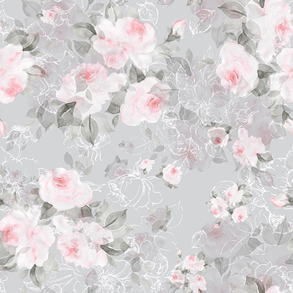 Fox Watercolor Pink Flowers Grey Vinyl Backdrop for Photography-Foxbackdrop