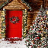 Fox Christmas Trees Wood House Snow Vinyl Backdrop-Foxbackdrop