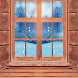 Fox Rolled Winter Wood Window Vinyl Backdrop