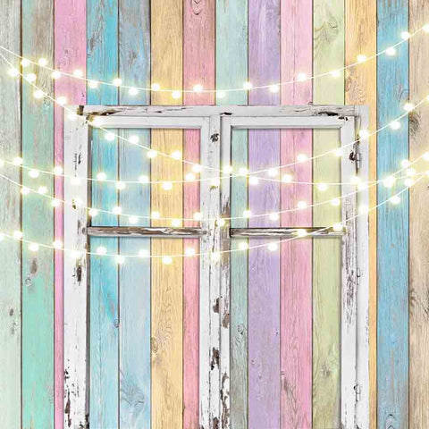 Fox Rolled Vinyl Colorful Wood Door Shiny Lights Backdrop