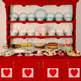 Fox Rolled Vinyl Red Kitchen Valentine Day Backdrop-Foxbackdrop