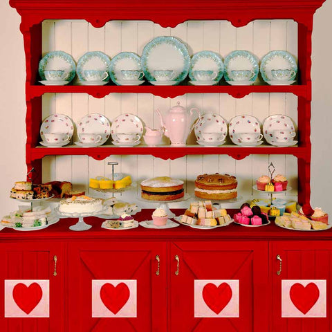 Fox Rolled Vinyl Red Kitchen Valentine Day Backdrop