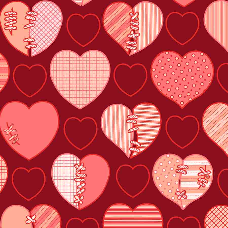 Fox Rolled Red Splice Heart Vinyl Valentine Day Backdrop