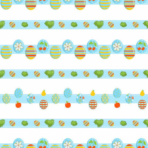 Fox Rolled Vinyl Colorful Easter Egg Blue Backdrop for Photography