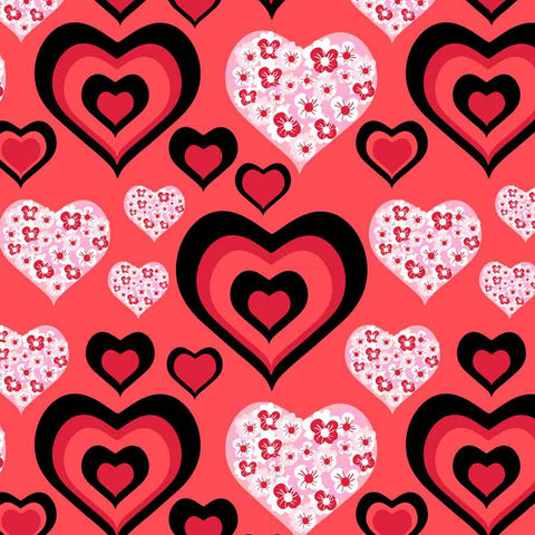 Fox Rolled Vinyl Pink Heart Overlay Valentine Backdrop