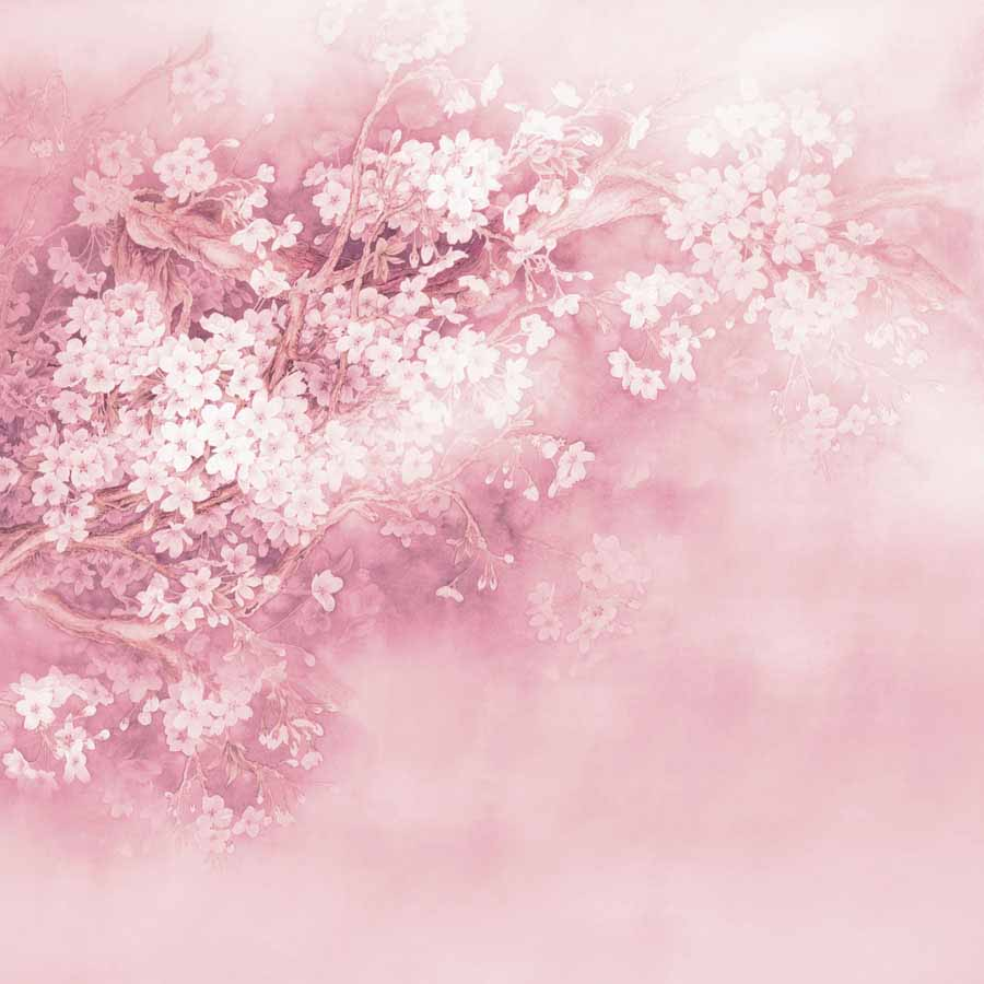 Fox Rolled Pink Flowers Vinyl Photography Backdrop-Foxbackdrop