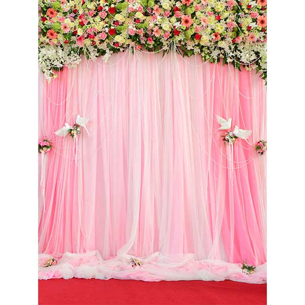 Fox Rolled Pink Curtain Vinyl Wedding Photo Backdrop