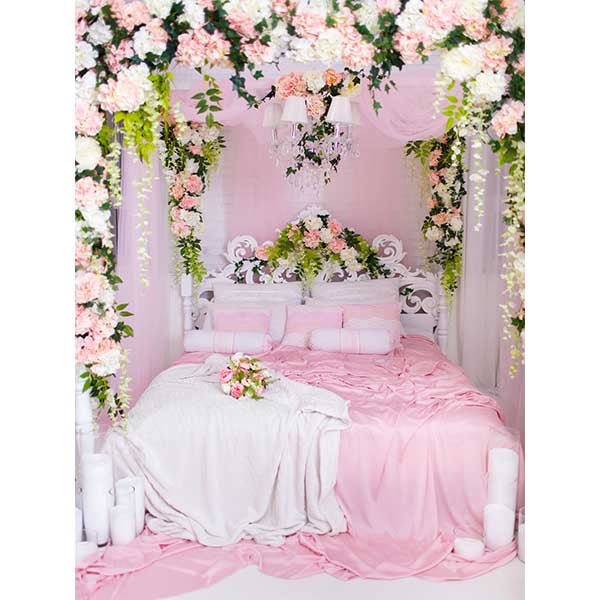 Fox Rolled Pink Bed Vinyl Wedding Couples Backdrops-Foxbackdrop