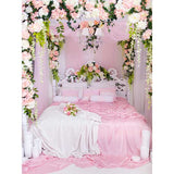 Fox Rolled Pink Bed Vinyl Wedding Couples Backdrops