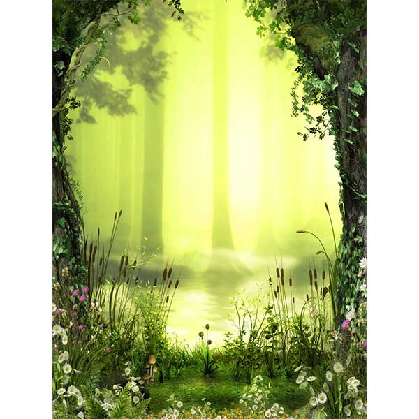 Fox Rolled Spring Green Jungle Vinyl Photography Backdrop