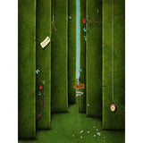 Fox Rolled Green Wall Spring 3D Vinyl Photo Backdrop-Foxbackdrop