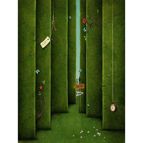 Fox Rolled Green Wall Spring 3D Vinyl Photo Backdrop