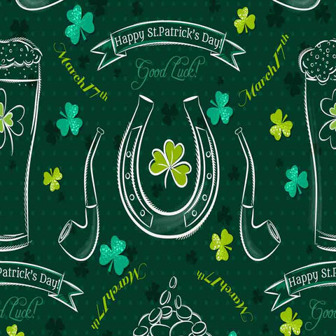 Fox Rolled St. Patrick's Day Green Children Vinyl Backdrop