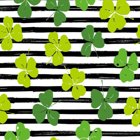Fox Rolled St. Patrick's Day Black White Stripes Vinyl Backdrop