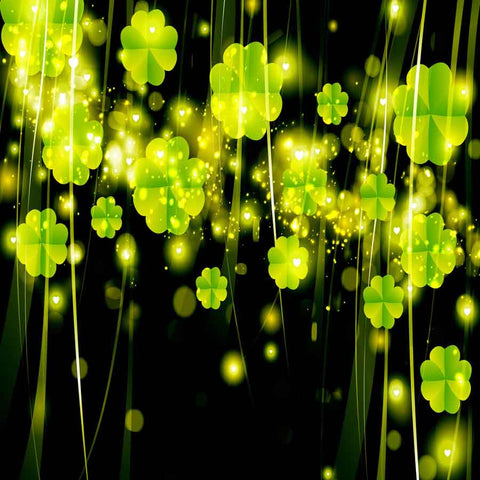 Fox Rolled St. Patrick's Day Green Leaves Black Vinyl Backdrop