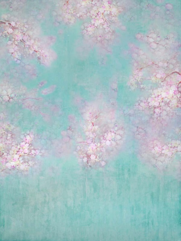 Fox Rolled Pink Flowers Vinyl Blue Floral Backdrop for Photography-Foxbackdrop