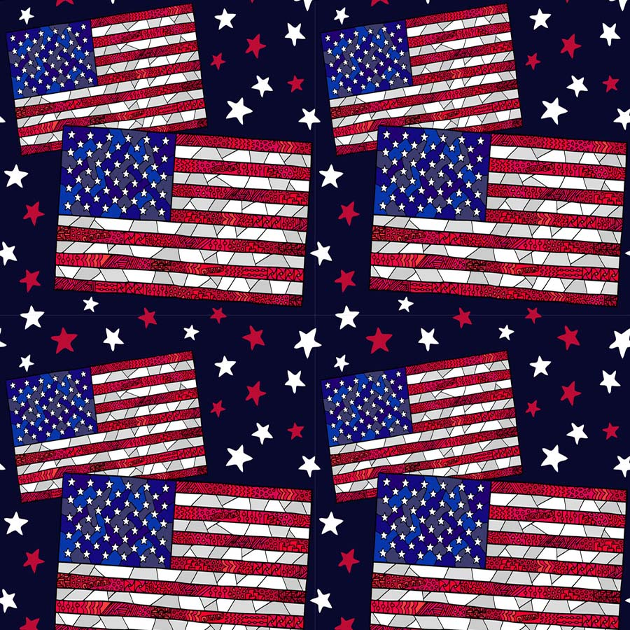 Fox American Flag Stars 4 of July Vinyl Independence Backdrop-Foxbackdrop