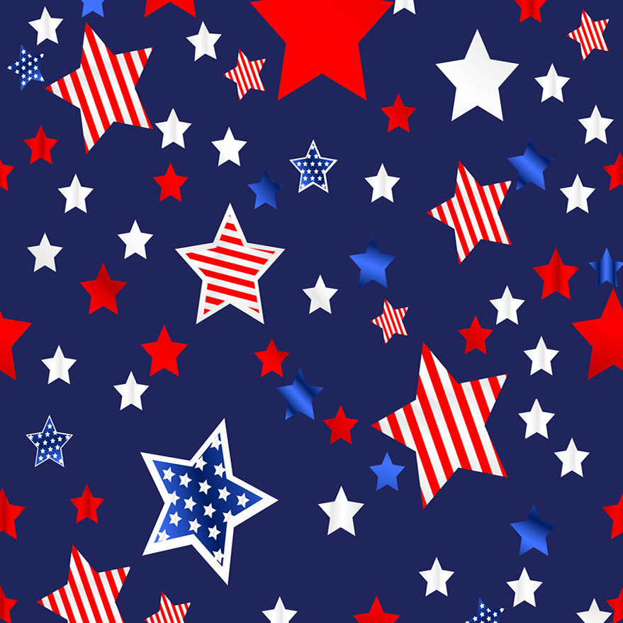 Fox American Flag Stars 4 of July Vinyl Photography Backdrop-Foxbackdrop