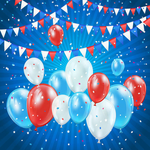 Fox American Flag Banner Blue Vinyl 4 of July Backdrop