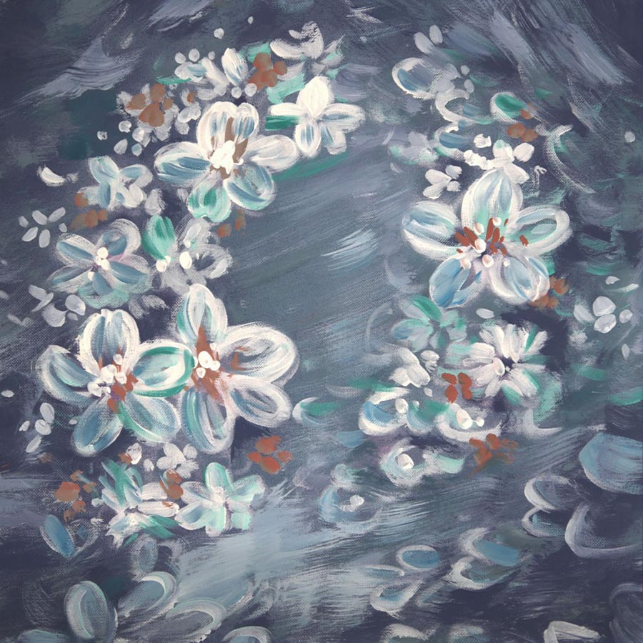 Fox Rolled Dreamy White Flowers Dark Vinyl Maternity Children Backdrop-Foxbackdrop
