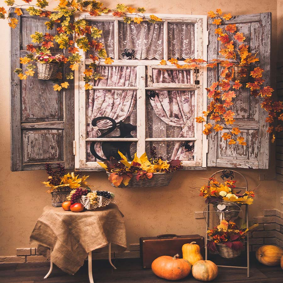 Fox Rolled Autumn Window Thanksgiving Vinyl Photo Backdrop
