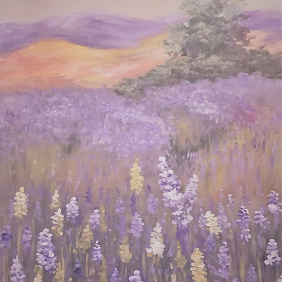 Fox Rolled Painting Lavender Flowers Vinyl Backdrop