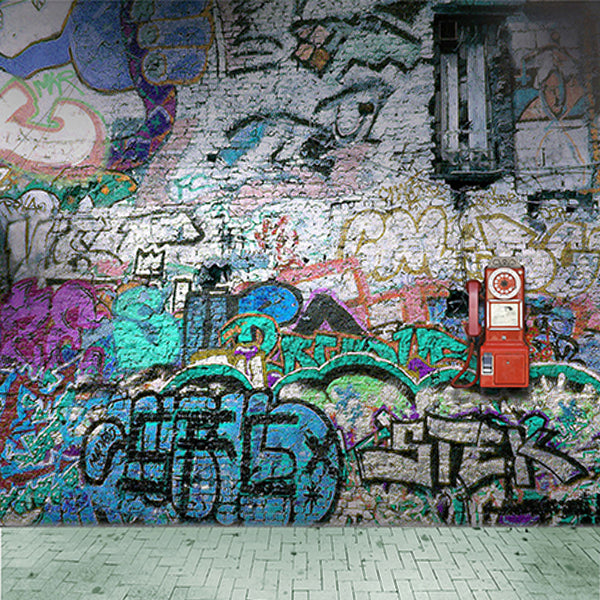 Fox Retro Graffiti Wall With Floor Vinyl Backdrop-Foxbackdrop