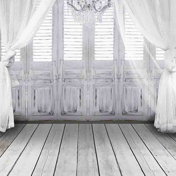 Fox Rolled White Curtain Wood Window Vinyl Backdrop