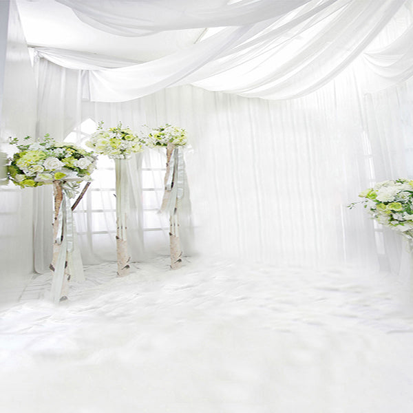 Fox White Curtains Wedding Vinyl Backdrop-Foxbackdrop