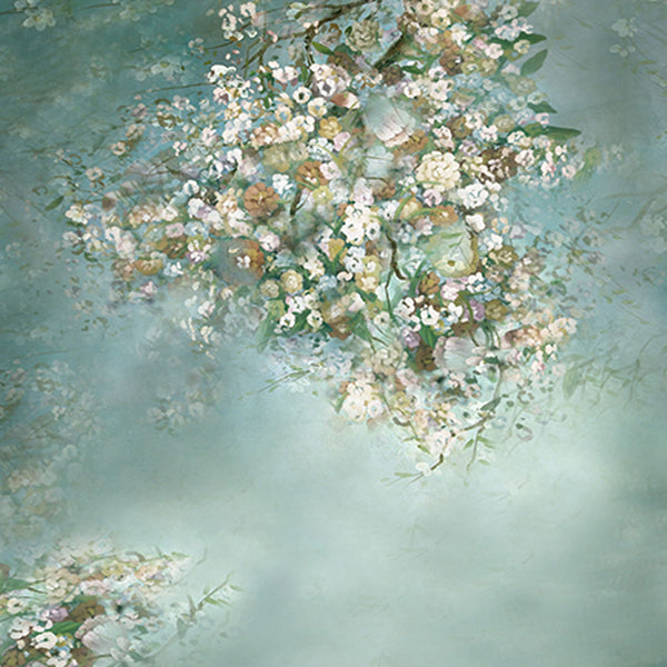 Fox Green White Flowers Vinyl Backdrop-Foxbackdrop