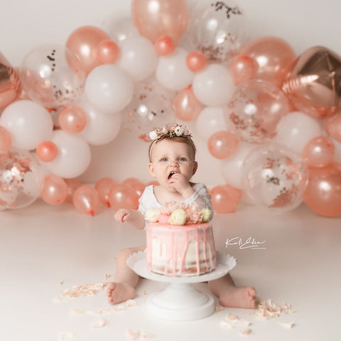 Fox Coral Balloons Vinyl Girl's Birthday Cake Smash Backdrop Design by Kali