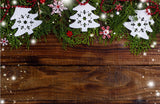 Fox Rolled Brown Wood Christmas Vinyl Photos Backdrop