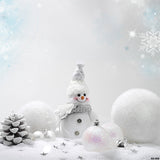 Fox Winter Snowman Rolled Thick Vinyl Backdrop