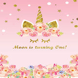 Fox Pink Gold Unicorn Birthday Vinyl Backdrop-Foxbackdrop