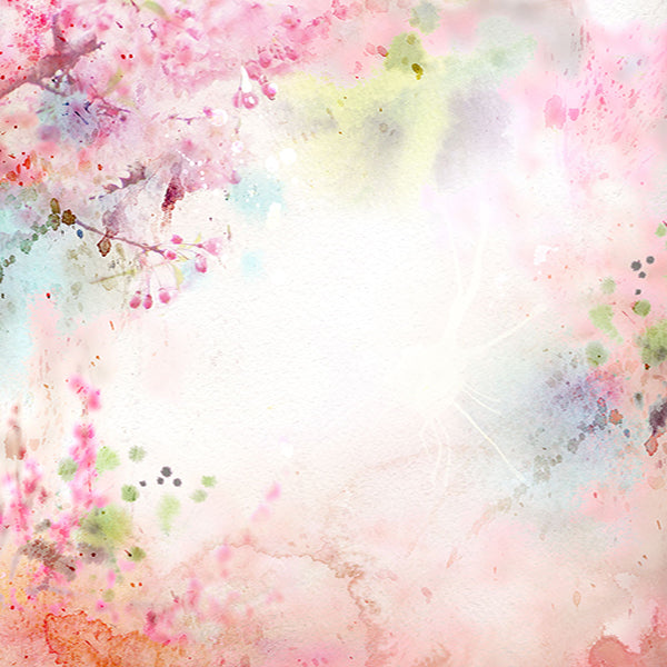 Fox Pink Flowers Abstract Vinyl Backdrop