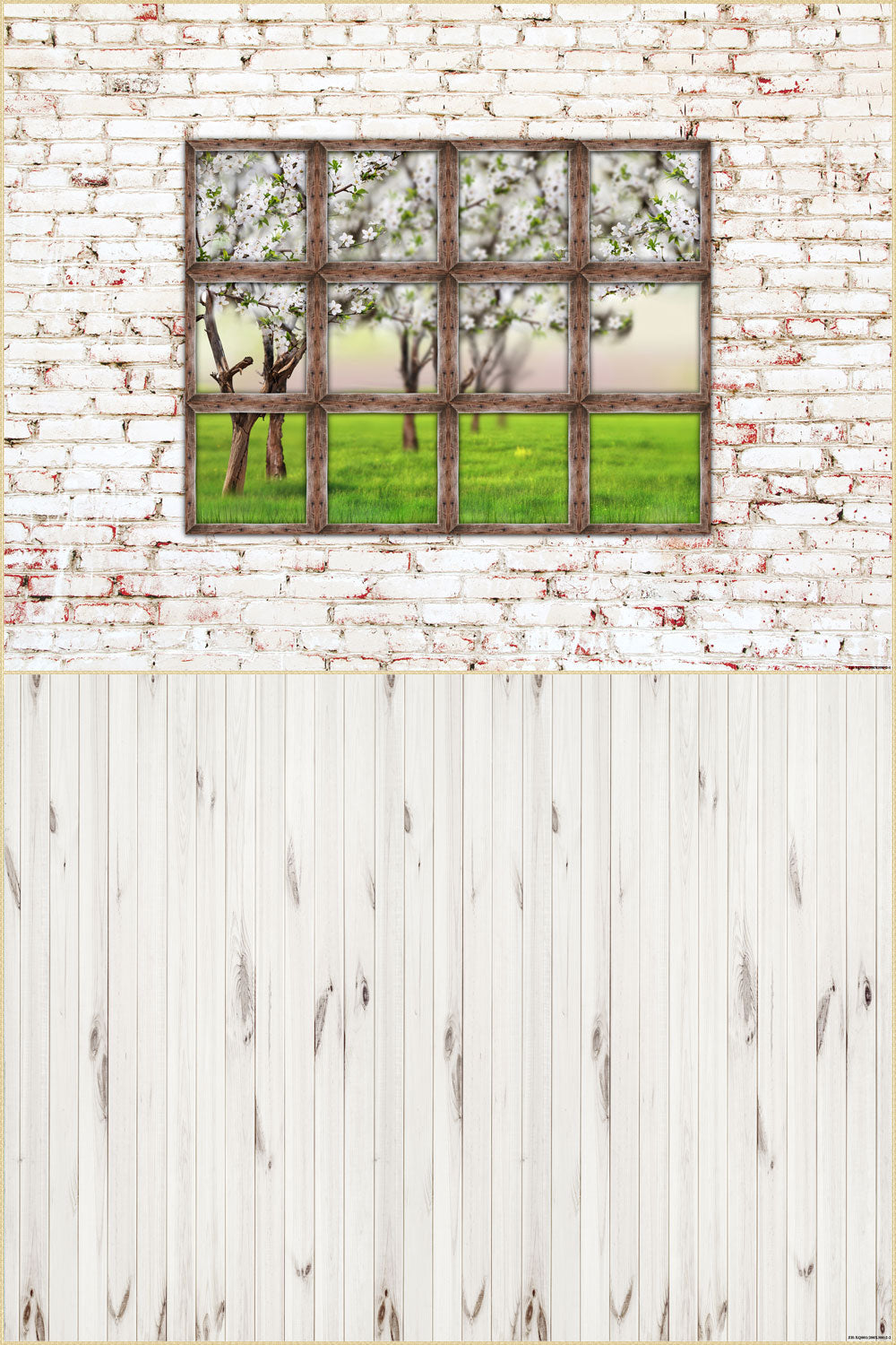 Fox 6.5x10ft  Vinyl Brick Wall with Wood Floor Drops Mat Photo Backdrop Combos