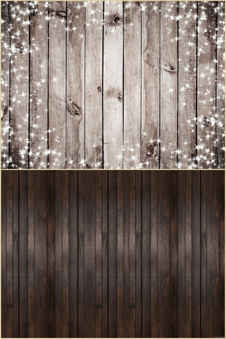 Fox 6.5x10ft  Vinyl Shiny Brown Wood Wall with Wood Floor Drops Mat Photo Backdrop Combos